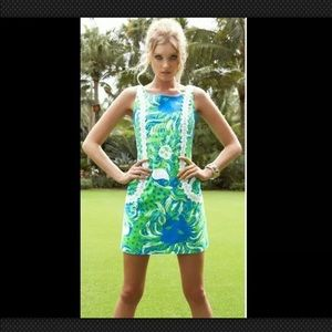 Lily Pulitzer Liz Shift Dress Limeade Roar 🐯 🏝